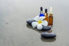 Esencja olej, Biały frangipani i zen kamień, fotografia stock
