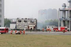 Esercitazione antincendio Fotografia Stock Libera da Diritti