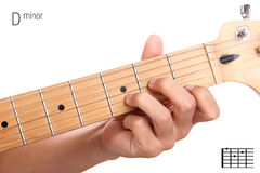 Esercitazione della corda della chitarra di re minore Fotografia Stock Libera da Diritti