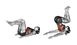 Esercitazione di forma fisica Scricchiolio inverso femmina Fotografia Stock Libera da Diritti