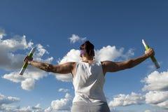 Esercitazione matura del peso della donna Fotografia Stock Libera da Diritti