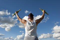 Esercitazione matura del peso della donna Fotografie Stock Libere da Diritti