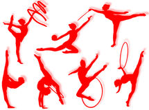 Esercitazioni di ginnastica ritmica illustrazione vettoriale