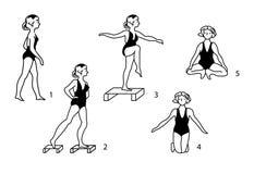 Esercitazioni relative alla ginnastica mediche dell'annata. Immagini Stock