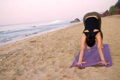 Eserciti su yoga dell'istruttore di yoga delle ragazze della spiaggia a casa Immagine Stock