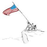 Esercito americano con la bandierina Immagini Stock Libere da Diritti