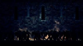 Esercito dei cavalieri che marciano in una chiesa stock footage