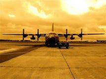 Esercito del belga dell'aeroplano C-130 Fotografie Stock