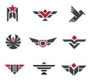 Esercito e distintivi e simboli militari di forza Immagini Stock Libere da Diritti