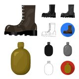 Esercito e fumetto dell'armamento, il nero, piano, monocromatico, icone del profilo nella raccolta dell'insieme per progettazione illustrazione di stock