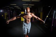 Esercizi di allenamento del peso del cavo Immagini Stock Libere da Diritti