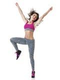 Esercizi di forma fisica del ballerino della donna isolati Fotografia Stock Libera da Diritti