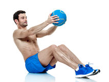 Esercizi di forma fisica dell'uomo isolati Fotografie Stock