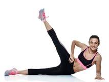 Esercizi di forma fisica della donna isolati Immagine Stock Libera da Diritti