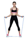 Esercizi di forma fisica della donna isolati Fotografia Stock Libera da Diritti