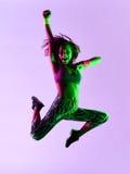 Esercizi di forma fisica di dancing del ballerino della donna isolati Immagine Stock Libera da Diritti