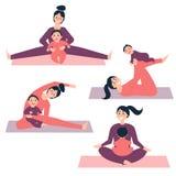 Esercizi di yoga con il bambino La donna sta allungando royalty illustrazione gratis