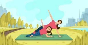 Esercizi di yoga della famiglia sul vettore piano dell'aria fresca illustrazione vettoriale