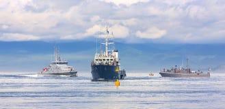 Esercizi militari navali nell'oceano Pacifico Fotografie Stock Libere da Diritti