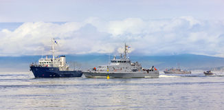 Esercizi militari navali nell'oceano Pacifico Immagine Stock
