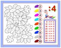 Esercizi per i bambini con divisione dal numero 4 Dipinga l'immagine Pagina educativa per il libro del bambino di matematica Fogl illustrazione vettoriale