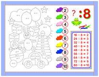 Esercizi per i bambini con divisione dal numero 8 Dipinga l'immagine Pagina educativa per il libro del bambino di matematica Fogl royalty illustrazione gratis