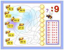 Esercizi per i bambini con divisione dal numero 9 Scriva i numeri nei cerchi corretti Pagina educativa per il libro del bambino d royalty illustrazione gratis