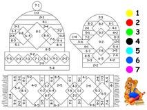 Esercizi per i bambini - necessità di dipingere immagine nel colore pertinente Fotografie Stock Libere da Diritti