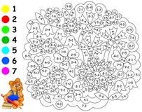 Esercizi per i bambini - necessità di dipingere immagine nel colore pertinente Immagine Stock