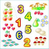 Esercizi per i bambini piccoli - necessità di unire gli oggetti con i numeri pertinenti illustrazione di stock