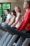 Esercizi su pedana mobile a ginnastica Immagini Stock Libere da Diritti