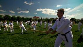 Esercizio all'aperto Lezioni di aikidi all'aperto I bambini sono impegnati in arte marziale degli aikidi Maggio 2018 archivi video