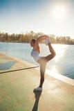 Esercizio dal lago Fotografie Stock