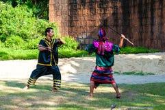 Esercizio dei combattenti per la dimostrazione tradizionale tailandese di arte marziale Fotografia Stock