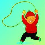 Esercizio della corda di salto dell'uomo Fotografie Stock