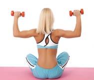 Esercizio di allenamento facente biondo sexy Fotografia Stock Libera da Diritti