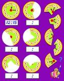 Esercizio di logica per i bambini Debba trovare le seconde parti degli orologi, disegnili nei posti pertinenti e scriva il tempo  Fotografia Stock