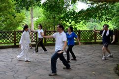 Esercizio di Tai Chi di primo mattino in parco Fotografia Stock