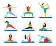 Esercizio di yoga Terapia di forma fisica, pose sane di yoga di allungamento e trattamento della donna allunganti vettore piano d illustrazione di stock