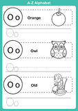 Esercizio di a-z di alfabeto con vocabolario del fumetto per il libro da colorare Immagine Stock