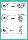Esercizio di a-z di alfabeto con vocabolario del fumetto per il libro da colorare Fotografia Stock