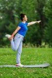 Esercizio facente femminile invecchiato di yoga in parco Outdor di pratica di yoga della donna senior Concetto coperto di erica d Fotografie Stock Libere da Diritti