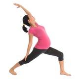 Esercizio incinto di yoga dell'asiatico. Fotografie Stock Libere da Diritti
