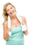 Esercizio maturo sano della donna isolato su fondo bianco Fotografia Stock Libera da Diritti