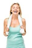 Esercizio maturo sano della donna isolato su fondo bianco Fotografie Stock Libere da Diritti