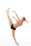 Esercizio sano delle donne di forma fisica in studio isolato Fotografia Stock Libera da Diritti