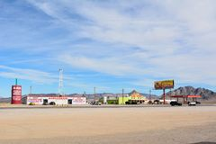 Desert truck stop in Amargosa Valley with Area 51 Alien Center royalty free stock photos