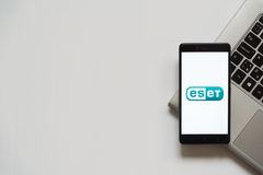 Eset logo on smartphone screen. Bratislava, Slovakia, April 28, 2017: Eset logo on smartphone screen placed on laptop keyboard. Empty place to write information Stock Photo
