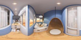 360 esféricos panorama sem emenda do balcão Foto de Stock Royalty Free