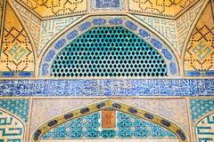 esfahan伊朗jame清真寺东方s铺磁砖了墙壁 库存照片